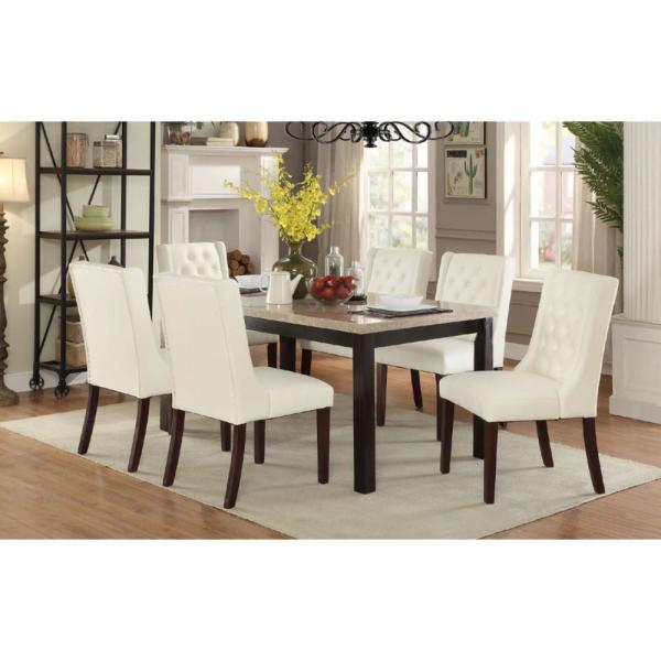 Benzara Upholstered White Button Tufted Leatherette Dining Chair Set Of 2 Bm171526 The Home Depot