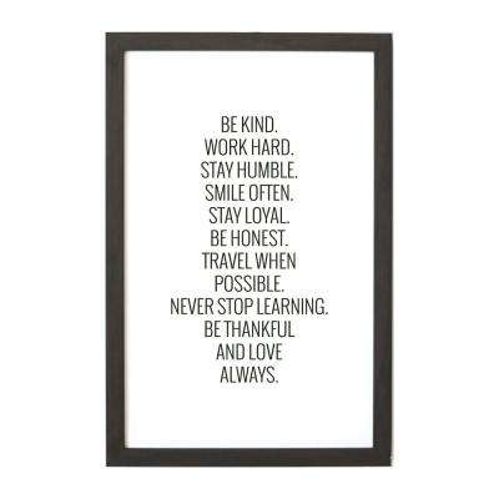 Be Kind, Work Hard, EBONY FRAME, Magnetic Memo Board