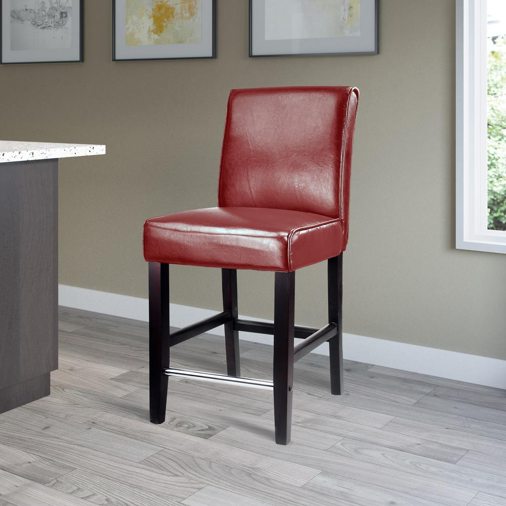 Corliving Antonio 25 In Red Bonded Leather Bar Stool Dad