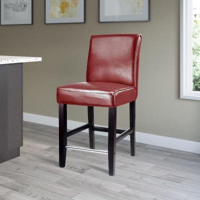 Antonio 25 in. Red Bonded Leather Bar Stool