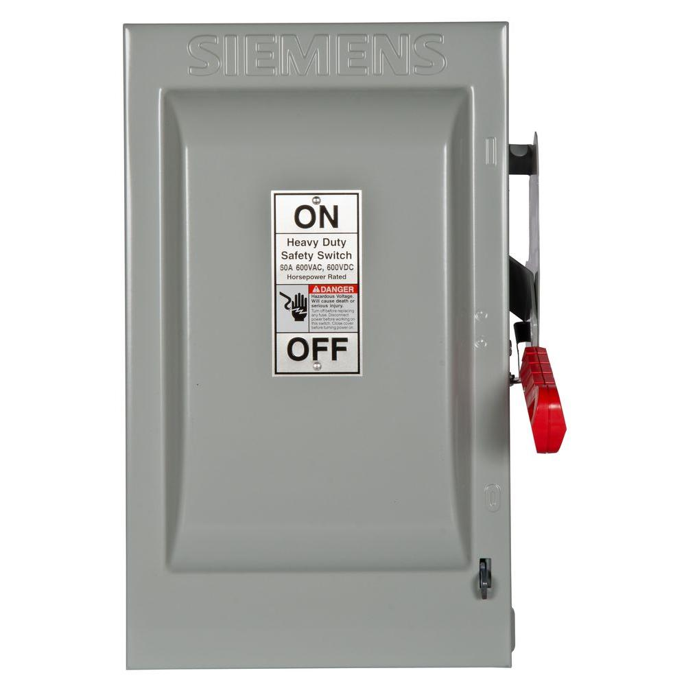 siemens heavy duty 60 amp 600 volt 3 pole indoor non fusible safety switch hnf362 the home depot. Black Bedroom Furniture Sets. Home Design Ideas