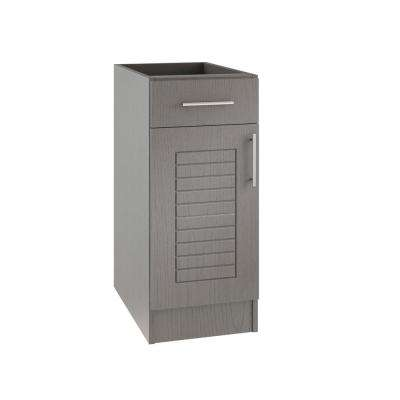 Assembled 15x34.5x24 in. Key West Island Outdoor Kitchen Base Cabinet with 1 Door and 1 Drawer Left in Rustic Gray