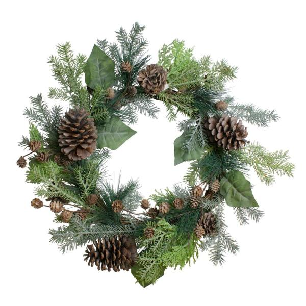14 in. Unlit Pine Cone Cedar and Leaves Artificial Christmas Wreath