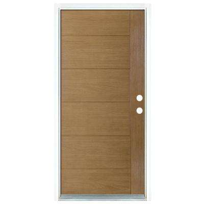 36 in. x 80 in. Contemporary Teak Modern Light Oak Left-Hand Inswing Stained Fiberglass Prehung Front Door