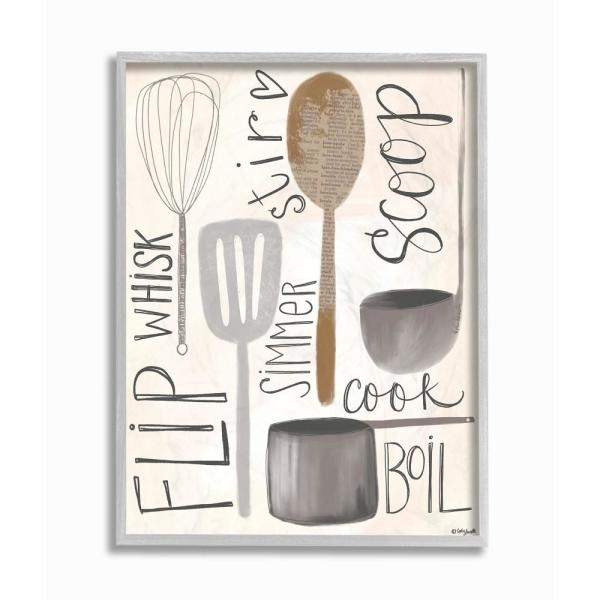 The Stupell Home Decor Collection 16 In X 20 In Flip Whisk Simmer And Stir Kitchen Utensils Gray Farmhouse Rustic Framed Wall Art By Katie Douette Kwp 2079 Gff 16x20 The Home Depot