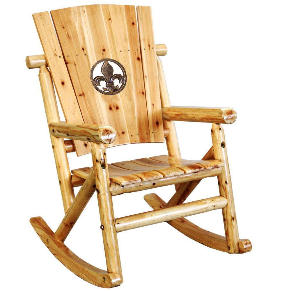Leigh Country TX 95102 Aspen Patio Rocking Chair With Fleur De Lis