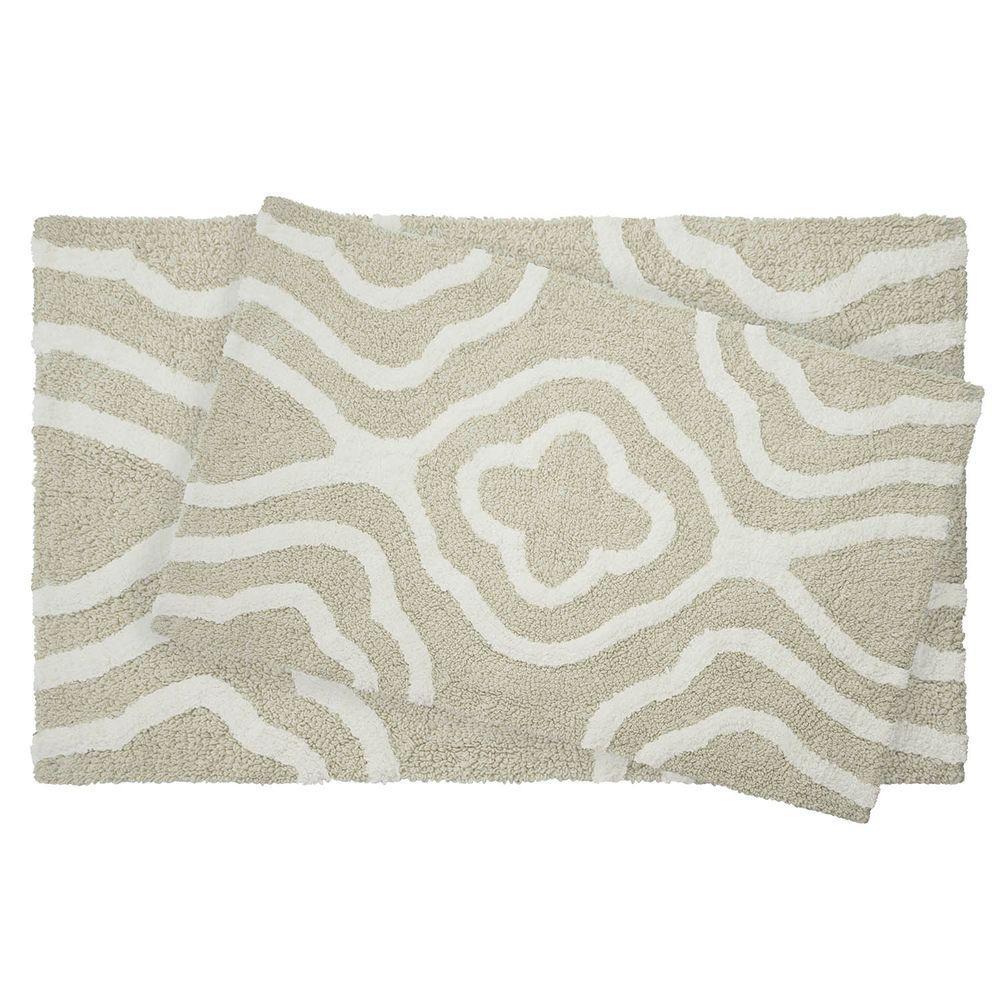 Reversible Cotton Soft Giri Ivory 2-Piece Bath Mat Set