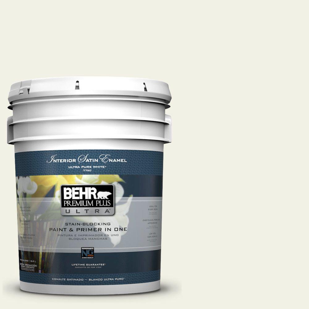 5 gal. #PPL-57 White Smoke Satin Enamel Interior Paint and Primer