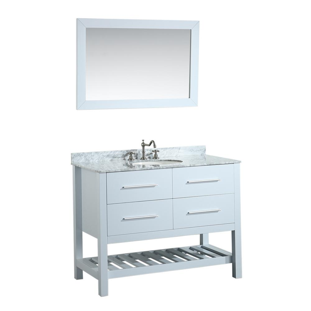 W Single Bath Vanity In White With Carrara Marble Top Basin And Mirror