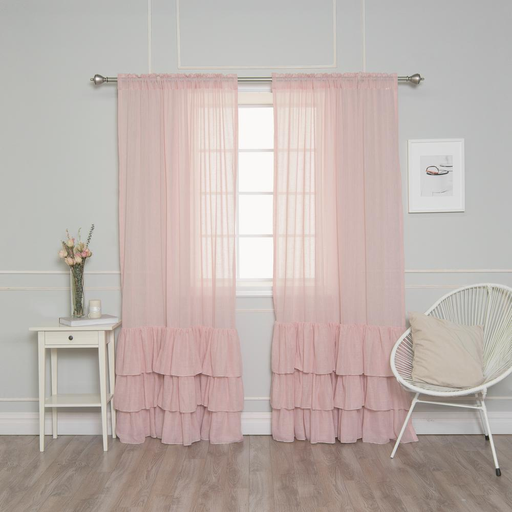 Best Home Fashion Pink 84 In. L Faux Linen Bottom Ruffle Curtain (2