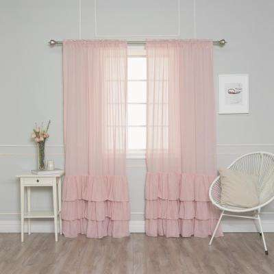 84 in. L Pink Faux Linen Bottom Ruffle Curtain (2-Pack)
