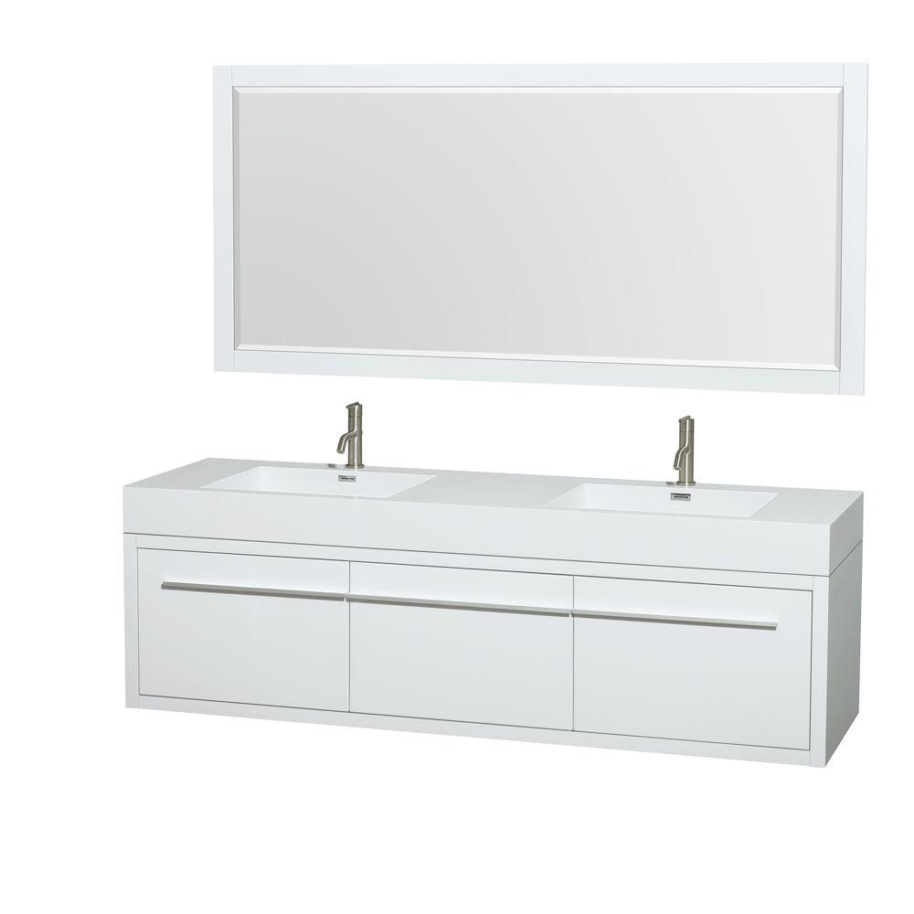 Wyndham Collection Axa 72 In. Double Vanity In Gloss White With Acrylic  Resin Vanity Top