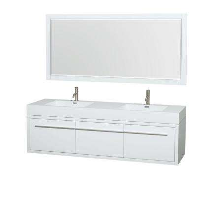 Axa 72 in. Double Vanity in Gloss White with Acrylic Resin Vanity Top in White, Integrated Sinks and 70 in. Mirror