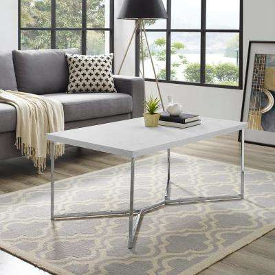 42 in. Y-Leg Coffee Table in White Faux Marble/Chrome