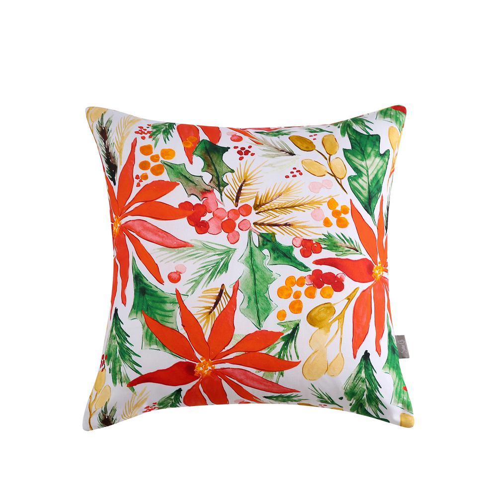 Poinsettia Reversible 20 in. x 20 in. Decorative Pillow