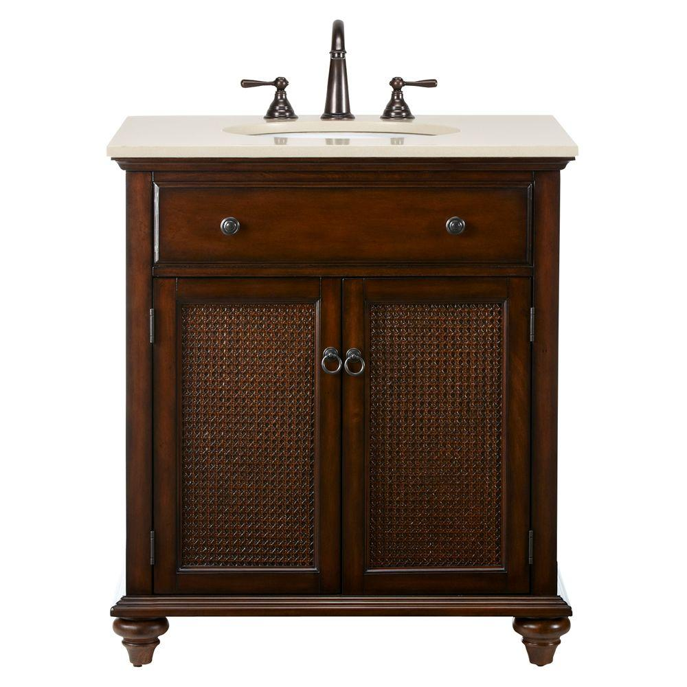 Home Decorators Collection Ansley 30 in. W Single Bath Vanity in Walnut with Stone Vanity Top in Cream