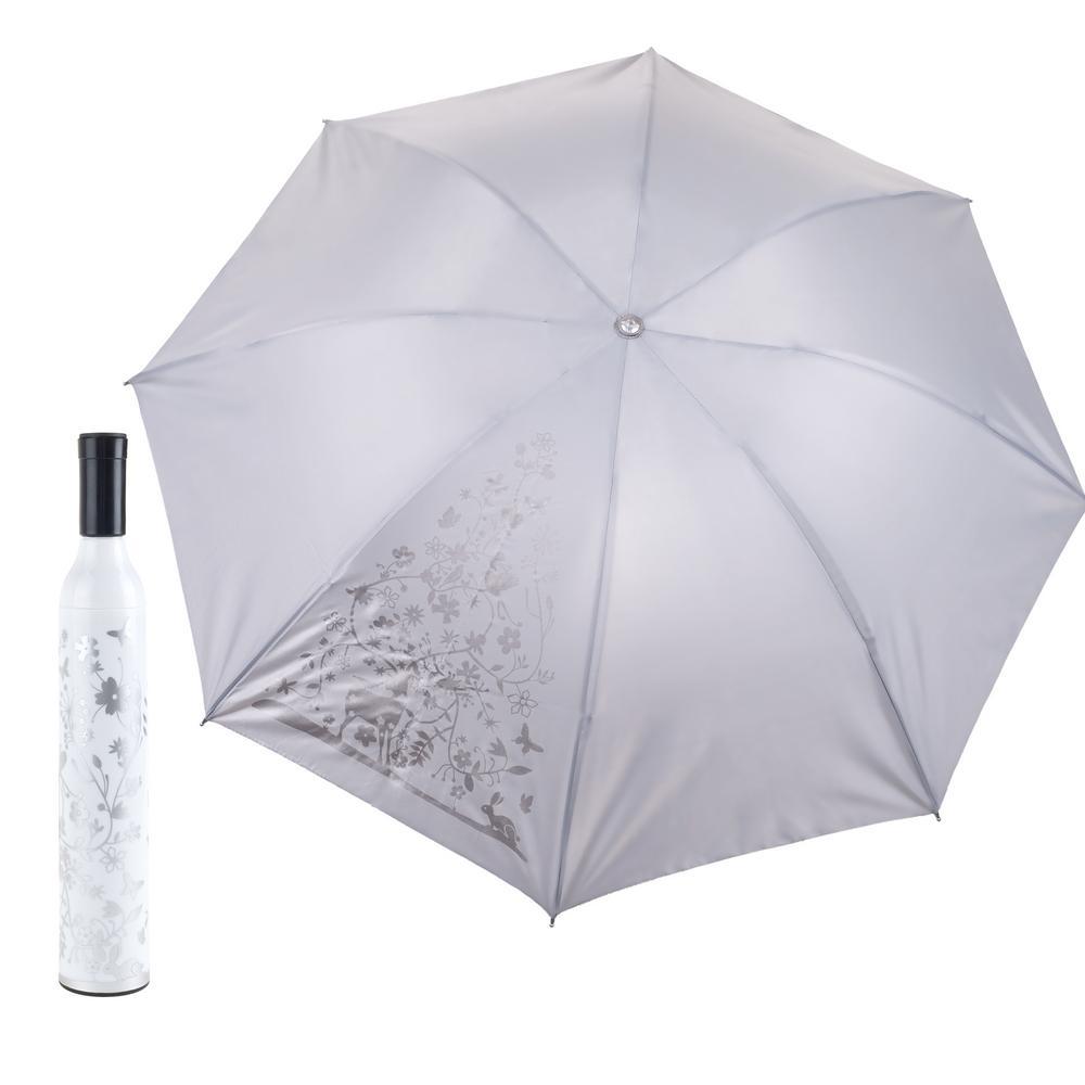 Trademark Home White and Silver Wine Bottle Umbrella