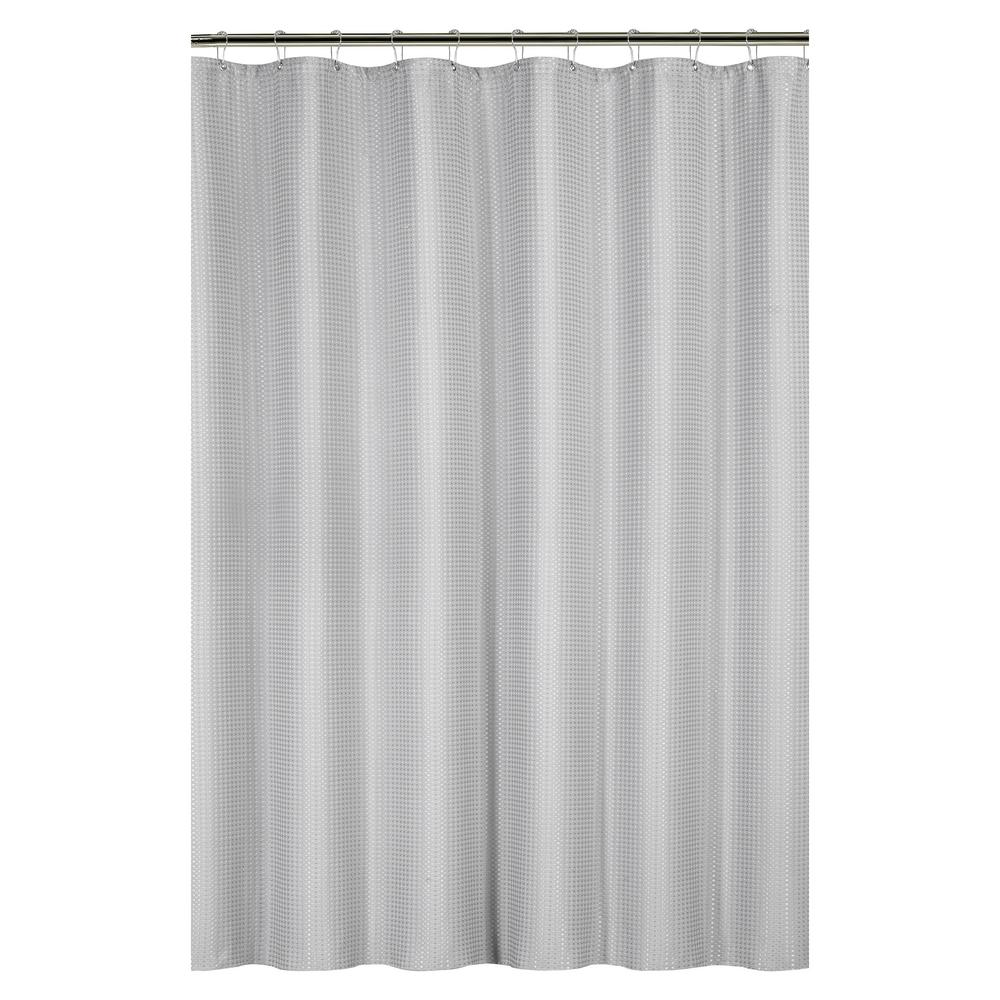 bath bliss waffle weave 72 in gray shower curtain with metal grommets 25871 grey the home depot. Black Bedroom Furniture Sets. Home Design Ideas
