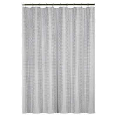 Waffle Weave 72 in. Gray Shower Curtain with Metal Grommets