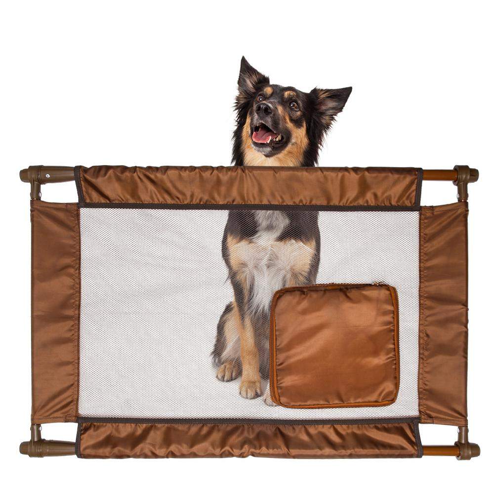 PET LIFE Brown Porta Gate Travel Collapsible And Adjustable Folding Pet Cat Dog  Gate