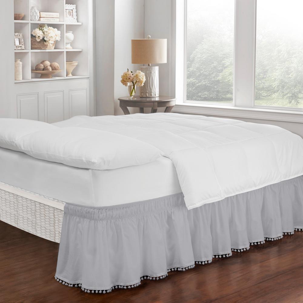 Pom Pom Gray King/Queen Bed Skirt