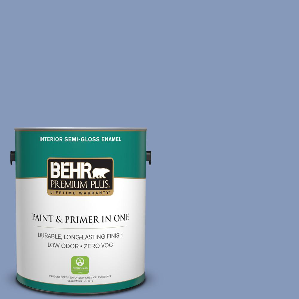 1 gal. #610D-5 Blueberry Popover Semi-Gloss Enamel Zero VOC Interior Paint