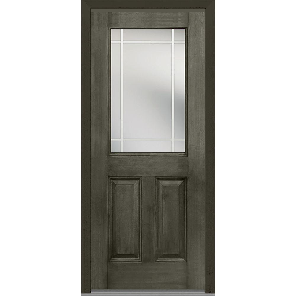 36 in. x 80 in. Prairie Internal Muntins Left-Hand 1/2 Lite