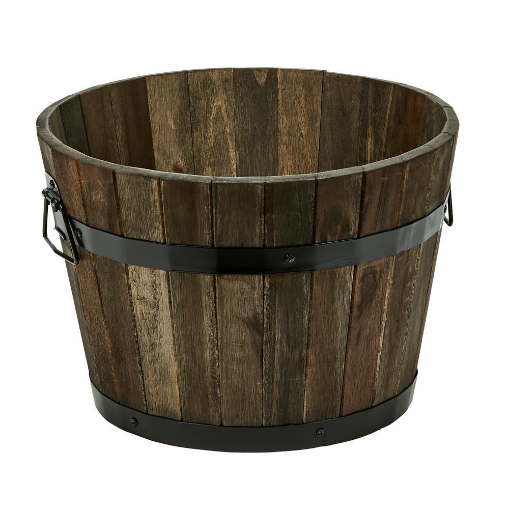 10 in. Wood Barrel in Brown Oil