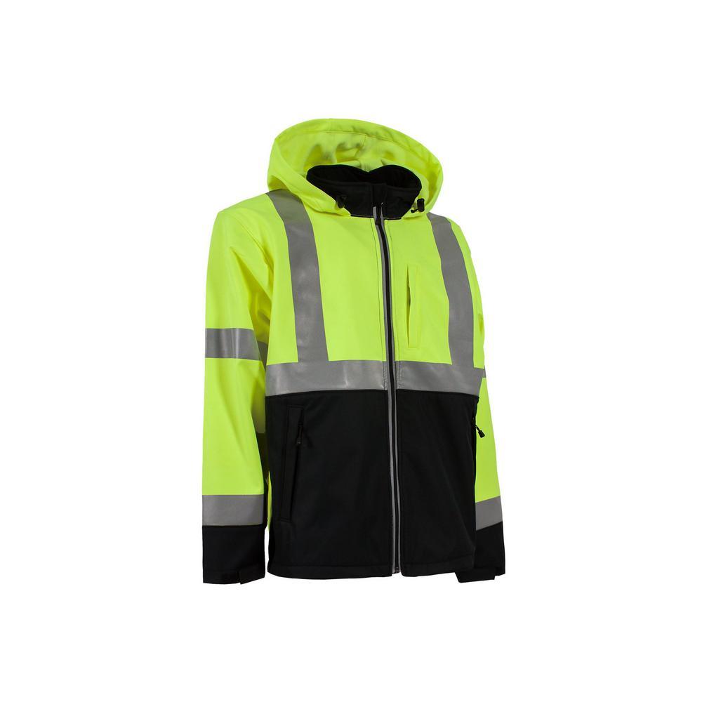Men's Large Regular Yellow Polyester Hi-Vis Type R Class 3 Softshell Jacket
