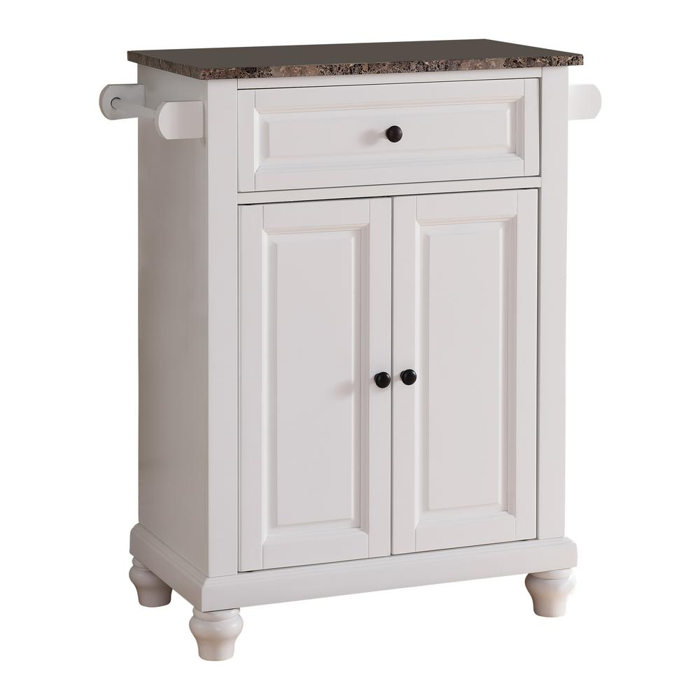 Kings Brand Furniture White With Marble Finish Top Storage Kitchen Island With 2 Towel Bars Hw 40k The Home Depot