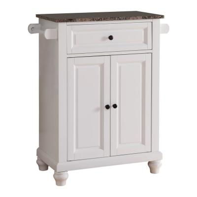 White with Marble Finish Top Storage Kitchen Island with 2 Towel Bars