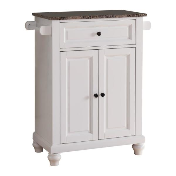 Kings Brand Furniture White With Marble Finish Top Storage