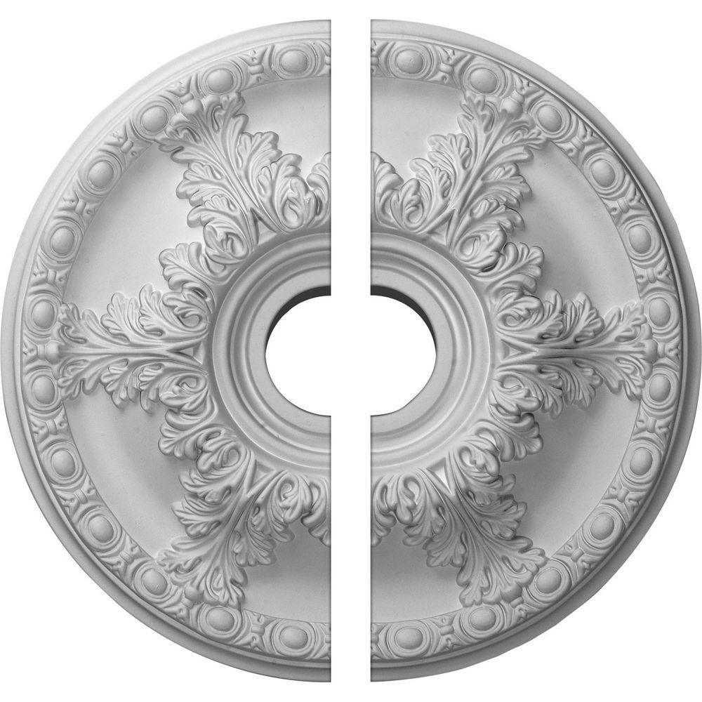 18 in. O.D. x 3-1/2 in. I.D. x 2-1/2 in. P Granada Ceiling Medallion (2-Piece)