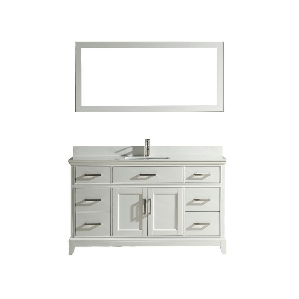 Genoa 60 in. W x 22 in. D x 36 in. H Bath Vanity in White with Vanity Top in White with White Basin and Mirror