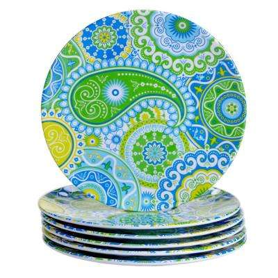 Boho 6-Piece Blue Salad Plate Set