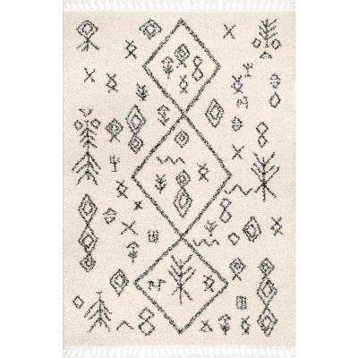 Kayla Moroccan Abstract Tassel Off White 5 ft. 3 in. x 7 ft. 7 in. Area Rug