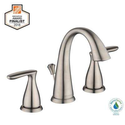 Meansville 8 in. Widespread 2-Handle High-Arc Bathroom Faucet in Brushed Nickel