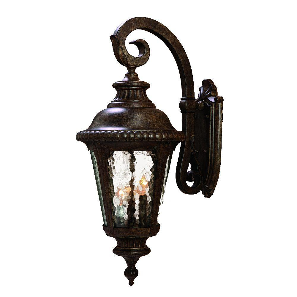 Surrey Collection Wall-Mount 3-Light Outdoor Black Coral Light Fixture