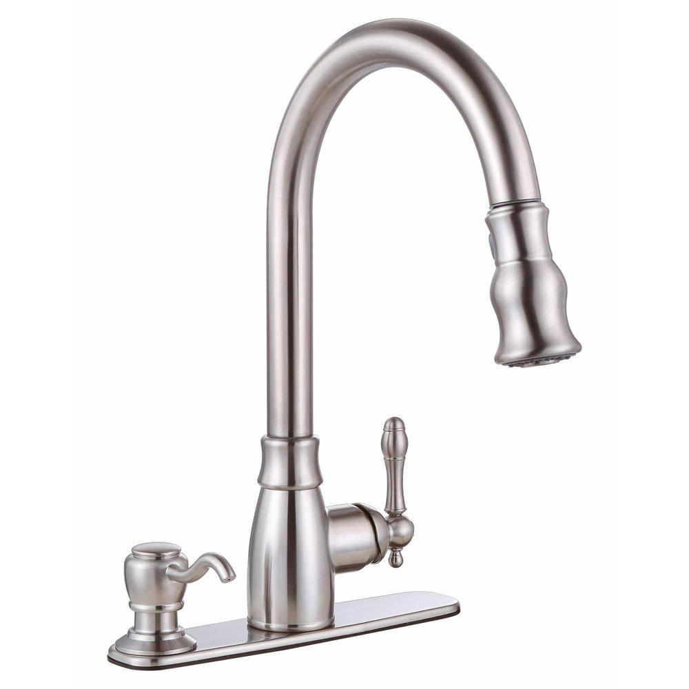 Premier Sonoma Single-Handle Pull-Down Sprayer Kitchen Faucet with Soap  Dispenser in Brushed Nickel