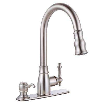 Sonoma Single-Handle Pull-Down Sprayer Kitchen Faucet with Soap Dispenser in Brushed Nickel