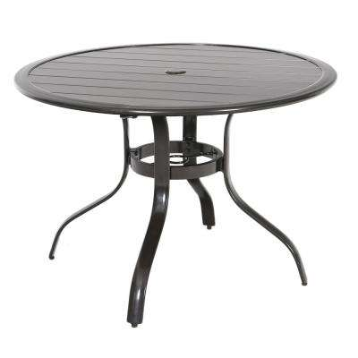 Commercial Aluminum 40 in. Round Outdoor Slat Top Dining Table in Brown
