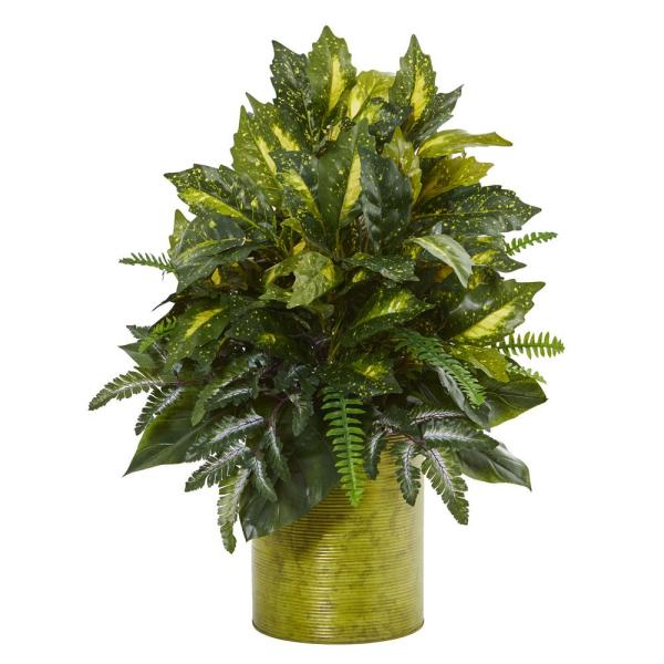 28 in. Mixed Greens Artificial Plant in Green Tin Planter
