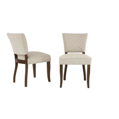 Cline Haze Oak Finish Upholstered Dining Chair with Biscuit Beige Seat (Set of 2) (24.80 in. W x 34.25 in. H)