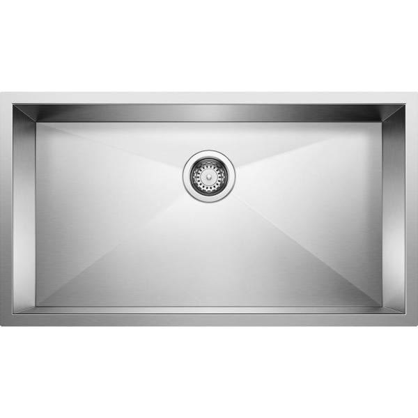QUATRUS R0 Undermount Stainless Steel 32 in. Single Bowl Kitchen Sink