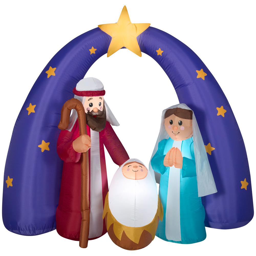 Home Accents Holiday 6 ft. Pre-lit Inflatable Airblown Nativity Metallic Fuzzy Scene