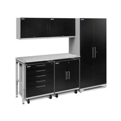 Performance Plus Diamond Plate 2.0 97 in. W x 83.25 in. H x 24 in. D Garage Cabinet Set in Black (6-Piece)