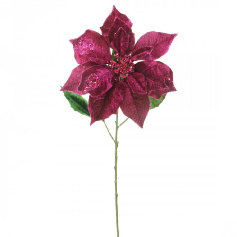 29 In Christmas Velvet Poinsettia Flower Stems With Glitter Color