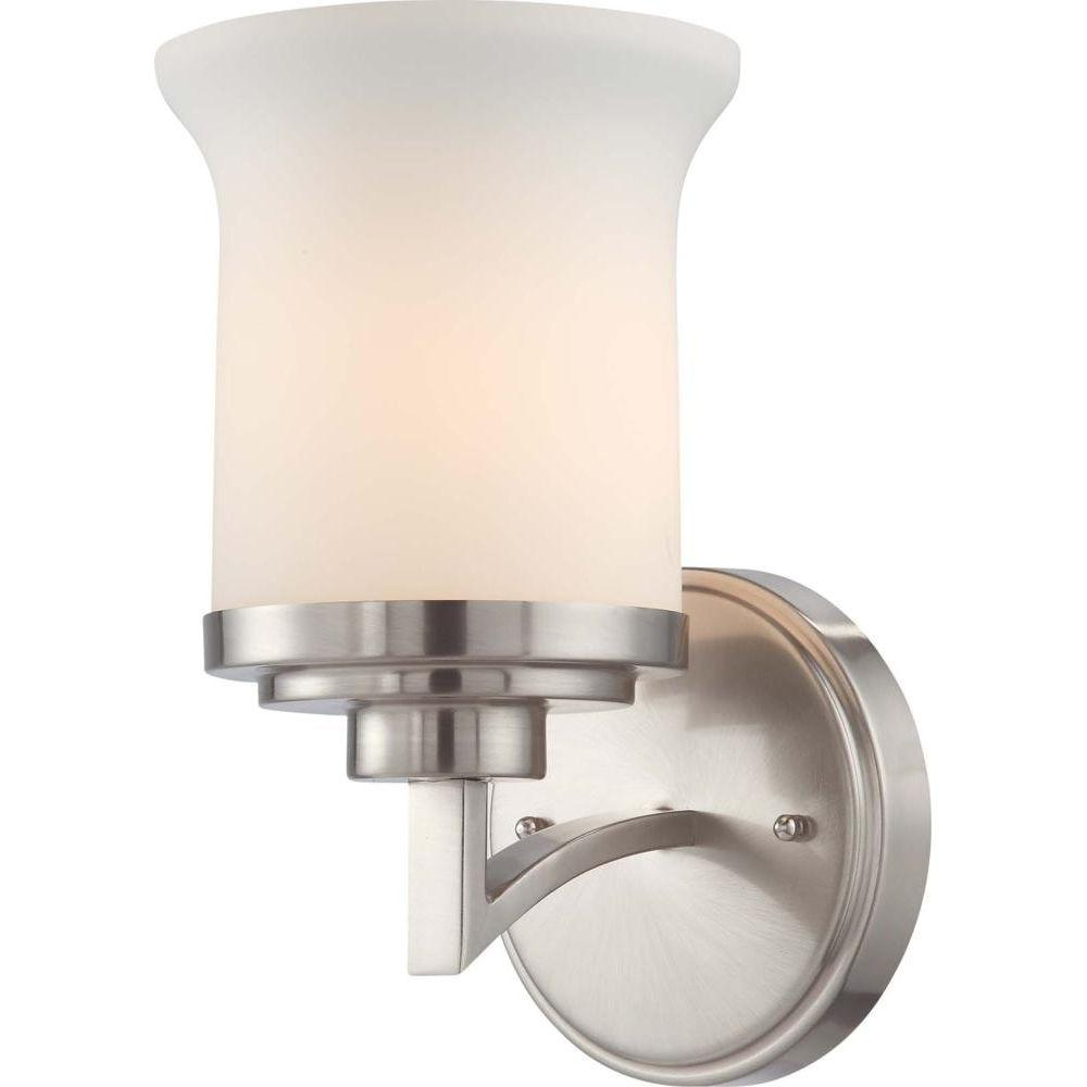 1-Light Brushed Nickel Bath Vanity Light with White Satin Glass