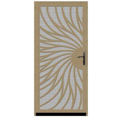 36 in. x 80 in. Solstice Tan Surface Mount Steel Security Door with Insect Screen and Bronze Hardware