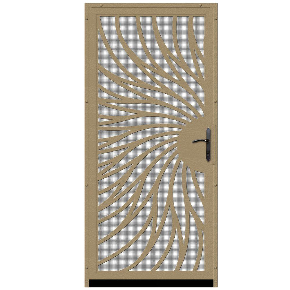 Unique Home Designs 36 in. x 80 in. Solstice Tan Surface Mount Steel Security Door with Insect Screen and Bronze Hardware